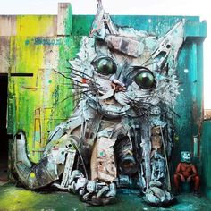 Bordalo II - Trash Cat Abandoned #2 #Bordaloii #streetart #bigtrashanimals #cat #trashcat #assemblage