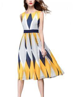 a77e70297cb Multicolor Sleeveless Geometric Printed Midi Dress