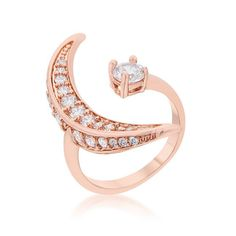 Luna Delicate Moon Wrap Fashion Rose Gold Cocktail Ring | 1.5 Carat |Cubic Zirconia