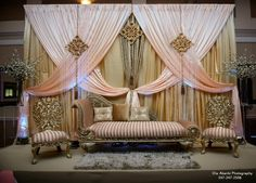 Birthday Room Decorations, Wedding Hall Decorations, Backdrop Decorations, Sitting Arrangement, Fairy Lights Wedding, Ethnic Decor, Backdrop Design, Wedding Wall, Colorful Curtains
