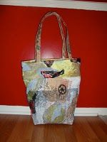 """Sewing a durable tote from fused plastic bag """"fabric"""".  A tutorial."""