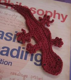 Gecko crochet bookmark in red (finished item). $7.00, via Etsy.