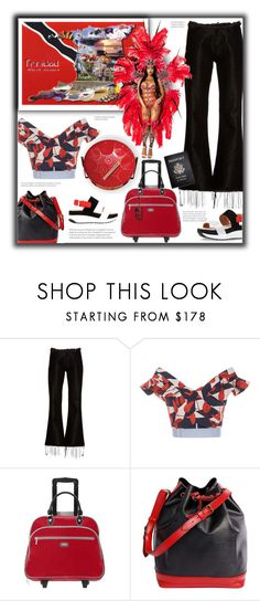 """""""Travel to Trinidad and Tobago"""" by fassionista ❤ liked on Polyvore featuring Marques'Almeida, Johanna Ortiz, Baggallini, Louis Vuitton, Passport, Vera Bradley, travel, jeans, redandblack and offshoulder"""