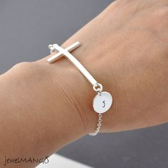 Initial Silver Sideways Cross Bracelet, Personalized cross bracelet, personalized initial, friendship, monogram by jewelmango. $17.90, via Etsy.
