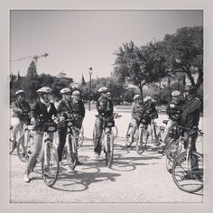 A Bike and Roll tour in black & white