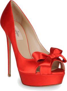 VALENTINO red satin open toe pumps - so pretty!