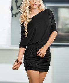 Black Ruched Off-Shoulder Blouson Dress