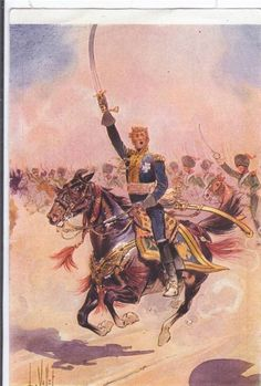 Vintage Postcard Artist Drawn L Vallet French Cavalry Sword Drawn Military Horse