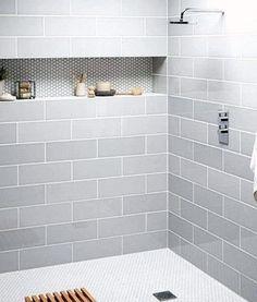 Gray Shower Tile, Subway Tile Showers, Grey Bathroom Tiles, Bathtub Tile, Attic Bathroom, Shower Floor, Bathroom Interior, Bathroom Vanities, Bathroom Storage