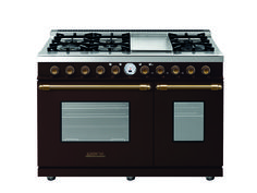 Range DECO 48'' Classic Brown matte, Bronze trim, 6 gas, griddle and 2 gas ovens with the main cavity equipped with 2 convection fans and broiler. Also available in Dual Fuel option with self-cleaning capabilities.