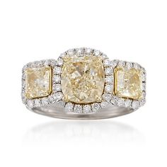 4.21 ct. t.w. Certified Fancy Yellow and White Diamond Ring in 18kt Two-Tone Gold | #785452 @ ross-simons.com