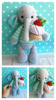 Free Crochet Elephant Pattern & many amigurumi elephant idea... Crochet Elephant Pattern, Crochet Motif, Free Crochet, Crochet Patterns, Step By Step Crochet, Learn To Crochet, Ballerina, Free Pattern, Dinosaur Stuffed Animal
