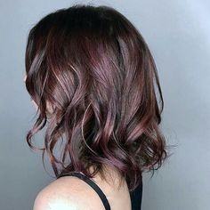 New Haircolor #CHOCOLATEMAUVE To get this kind of chocolate mauve balayage look ask your Aru Hair Stylist for this recipe shared by @sebastiancolorist For the base use #lorealpro #inoa 3/4 6.23 and 1/4 4.20 with 10 volume rooty balayage with #multitechniques and 40. Finish with a #dialight gloss of 7.12=5.26 15 volume