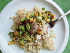 The Briny Lemon: Pan-Seared Mahi-Mahi with Avocado-Peach Salsa