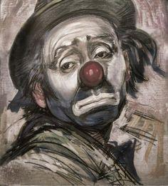 """The Sad Clown"" is a painting of Emmett Kelly by artist Barry Leighton-Jones Le Clown, Clown Faces, Circus Clown, Sad Faces, Clown Mask, Circus Art, Emmett Kelly Clown, Heinrich Böll, Famous Clowns"