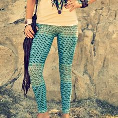 sea gypsy yoga leggings. tribal, indian, sea blues, patterned. | purusha people