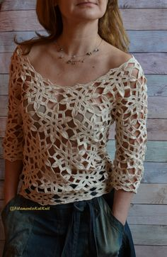 Crochet BLOUSE donne Cotone Pizzo / Beige / 34 manica fuori spalla / motivo floreale / Boho Blouse Crochet Cotton Top fatto a mano This is the handmade crochet lace top in a feminine style made of quality mercerized beige… Continue Reading → Cotton Crochet, Cotton Lace, Crochet Lace, Crochet Pattern, Crochet Garland, Crochet Flower, Irish Crochet, Pull Crochet, Mode Crochet