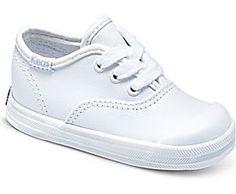Champion Lace Toe Cap Crib Sneaker, White Leather