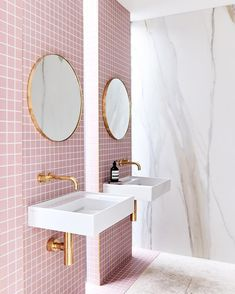 Yes. We did a pink bathroom! Check out #rebeccajuddloves today as we launch the main ensuite for @thestyleschool. In this pic: Calacutta 6mm porcelain slabs @wk_quantumquartz - pink tiles @artedomus -mirrors @luum.com.au - tapwear @sussextaps -sinks @reecebathrooms - trivet @marblebasics -stonemason New Millennium marble and stone - builder @robertgilihomes -stylist @aimeestylist : @jamesgeer