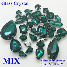 35pcs/lot Emerald Mixed Shapes Mixed Sizes Sew On Crystal Beads Glass Claw Rhinestone Sewing Loose Strass For Wedding Decoration