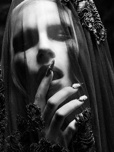 Michael Morrison Photography #bw #face #hand #nails #veil #dark #gothic
