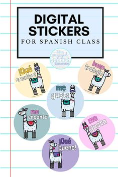 In a hybrid or remote learning environment, building connections with students is more difficult than ever. I have had success using digital stickers as rewards; a simple step to making connections with my students when we can't be face to face. Click through to read my suggestions for designing them, or to find options I have for you! I have designs available in English, French, and Spanish. Great for middle and high school language classes! Spanish Activities, Vocabulary Activities, Preschool Worksheets, Preschool Crafts, Study Spanish, Spanish 1, Spanish Alphabet, Spanish Language Learning, Teaching Spanish