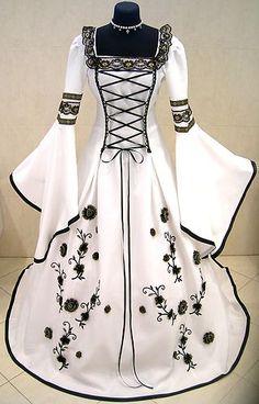 Medieval Wedding Dress Victorian 12 14 s M Gothic Fancy Pirate LARP White Black | eBay