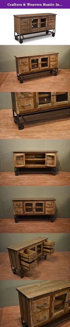 Crafters & Weavers Rustic Industrial Style 55 Inch TV Stand Media Console / Sideboard / Sofa Table. High Quality Antique Finish Multi Colored TV Stand. Built to last a Life Time.