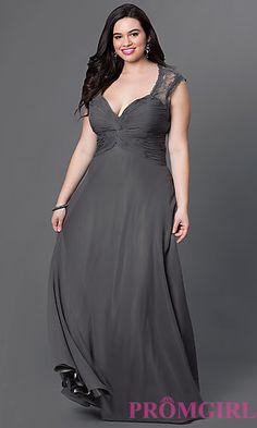 V-Neck Long Chiffon Plus Prom Dress at PromGirl.com
