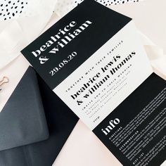 Invite friends and family to your wedding with these stylish monochrome concertina wedding invitations, featuring bold typography and a tear off RSVP card. Wedding Stationary, Wedding Invitations, Invites, Modern Wedding Stationery, Wedding Branding, Wedding Favours, Invitation Cards, Monochrome Weddings, Dream Wedding