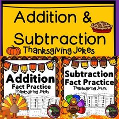 Addition & Subtraction Practice with Thanksgiving Jokes BundleYour students will LOVE finding the solutions to the Thanksgiving jokes as they work the problems!