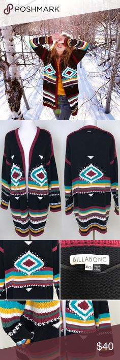 """[Billabong] Annabelle Aztec Knit Cardigan Sweater Chunky knit cardigan sweater by Billabong. Tribal aztec pattern. Long sleeves. Open front. Side pockets. Relaxed fit. Size Medium/Large.  🔹Fabric: 60% Cotton 40% Acrylic  🔹Bust: approximately 44"""" 🔹Length: 34"""" 🔹Condition: Very good pre-owned condition.     *A32 Billabong Sweaters Cardigans"""