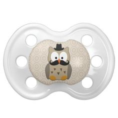Owl with Mustache and Hat Baby Pacifier $7.89
