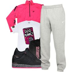 A fashion look from January 2015 featuring NIKE activewear pants and NIKE activewear jackets. Browse and shop related looks.
