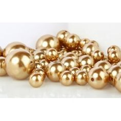 Scattered across the table for accent? 8 Ounce Bag Approx 68 Pearls Wholesale Elegant Vase Fillers or Table Scatter Golden Pearl Beads - Unique Decorative Beads for Weddings, Centerpieces and More
