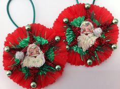 CHRISTMAS Santa Claus vintage style CHENILLE by StanleyAndStewart