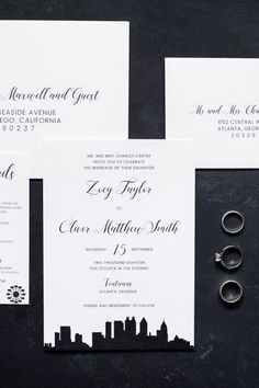 Modern City Skyline Wedding Invitation