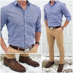 Nail the Details An easy way to take a basic outfit to the next level is to add awesome details like this cool It adds that little extra touch that brings the whole outfit together. They make awesome gifts too Belt: Shirt: Boots: Pants: Work Casual, Men Casual, Beige Hose, Khaki Pants Outfit, Formal Shirts For Men, Uniform Shirts, Business Casual Outfits, Mens Casual Dress Outfits, Fashion Outfits
