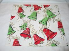 Vintage Dennison Christmas Gift Wrap Wrapping Paper Green Red Bells T27