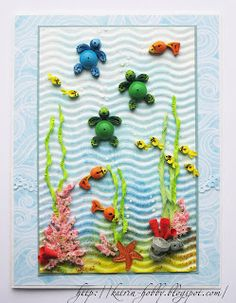 quilled under the sea scene - love the turtles - bjl