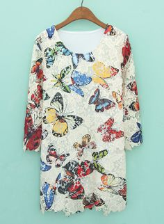 White Long Sleeve Butterfly Print Lace Dress US$29.67