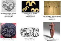Taur - Izvor al vieţii, apă, lună. Origine în paleoliticul superior; de importanţă deosebită începând cu neoliticul timpuriu, când bucraniul a devenit o reprezentare a uterului. Uter - Pântecele zeiţei, peşteră, mormânt, peşte, broască, arici, bucraniu, simboluri ale regenerării. Rădăcini în paleoliticul superior, cu dezvoltări în neolitic.