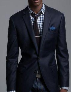 checkered shirt under suit jacket