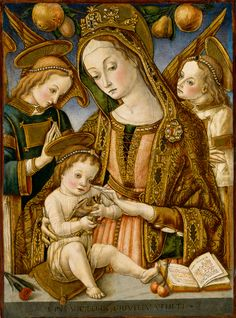 CARLO CRIVELLI (1435 – 1495) |  Madonna and child with two angels (& goldfinch).