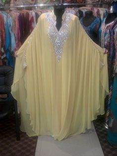 Yellow Long Chiffon Abaya in Dubai Kaftan Plus Size Muslim Evening Dresses Beaded Turkish Islamic Women Arabic Evening Gowns Arab Fashion, Islamic Fashion, African Fashion, Kaftan Designs, Muslim Evening Dresses, Evening Gowns, Abaya Mode, Hijab Style Dress, Maxi Dress Wedding