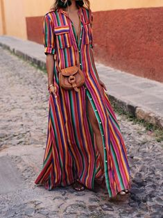 BOHO Button Down Collar Stripes Roll Up Sleeve Maxi Vacation Dresses modest maxi dress modest dress modest maxi dress formal maxi dress summer maxi dress modesty maxi dress casual boho maxi dress maxi dress outfit Maxi Shirts, Maxi Shirt Dress, Maxi Dress With Sleeves, Short Sleeve Dresses, Dress Shawl, Shirtdress Outfit, Short Sleeves, Half Sleeves, Collared Shirt Dress