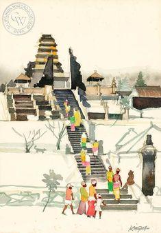 Besakih Temple, Bali, c. 1978 #watercolorarts