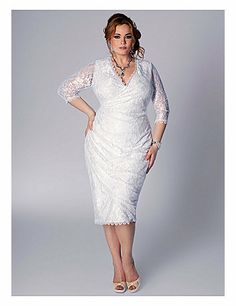 This faux wrap silhouette with V-neckline offers signature elegance in a more easy-going mode. Still keeping in mind attention to detail and feminine features such as the scallop trim at the neckline, sleeves and hemline with flattering ruching at the side seams, this dress is cut to enhance  define your curves. Finish the look with glittery pumps and an easy up-do. sonsi.com