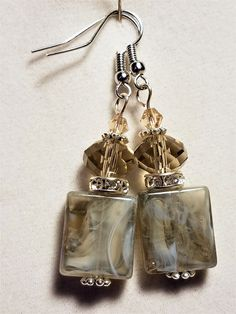 Smokey Gray Murano Earrings with Gray and Clear Crystals