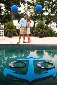 Custom monogram floating pool cut out! SUCH a neat idea! Matches the rest of th… Custom monogram floating pool cut out! SUCH a neat idea! Matches the rest of this nautical engagement party I Nico and Lala